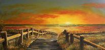 Meer, Strandweg, Sonnenuntergang, Sommer