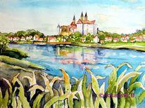 Meißen, Elbe, Landschaft, Aquarellmalerei