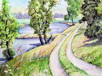 Elbdeich, Landschaft, Aquarellmalerei, Elberadweg