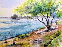 Fluss, Ufer, Aquarellmalerei, Elbe