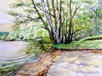 Wasserlandschaft, Mecklenburg, Landschaftsmalerei, See