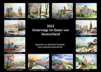 Architektur, Landschaft, Kalender, Pinnwand