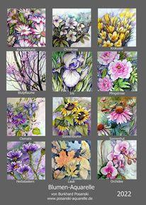 Blumenaquarelle, Kalender, Blumen, Aquarell
