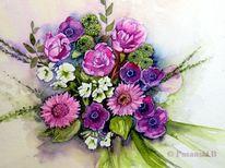 Blumen, Anemonen, Strauß, Aquarell
