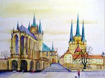 Erfurt, Dom, Stadt kirche, Aquarell