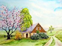 Baumblüte, Frühling, Haus, Aquarell