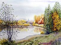 Kleinpösna, Kiesgrube, Herbst, See