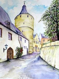 Schloss, Thüringen, Aquarell