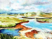 Landschaft, Geysir, Island, Aquarell