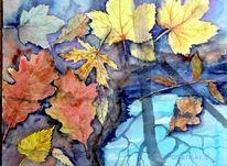 Laub, Herbst, Aquarellmalerei, Aquarell