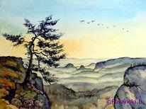 Landschaft, Aquarellmalerei, Elbsandsteingebirge, Kiefer