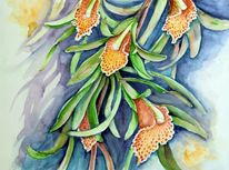 Aquarellmalerei, Orchidee, Blumen, Cymbidium
