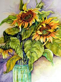Blumen, Blumenstrauß, Sonnenblumen, Aquarell