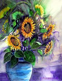 Aquarellmalerei, Sonnenblumen, Blumen, Aquarell