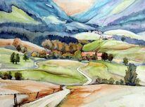 Steiermark, Berge, Aquarell, Aquarelle landschaften
