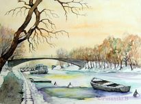 Winter, Landschaft, Aquarellmalerei, Fluss