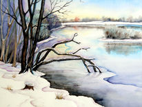 Landschaft, See, Aquarellmalerei, Winter
