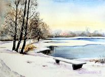Winter, Landschaft, Aquarellmalerei, See