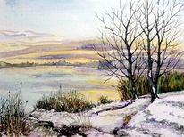 See, Kiesgrube, Kleinpösna, Winter