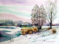 Kiesgrube, Winter, Schnee, Kleinpösna