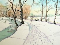 Aquarellmalerei, Landschaft, Winter, Park