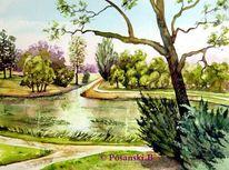 Aquarellmalerei, Park, Teich, Wörlitzer park