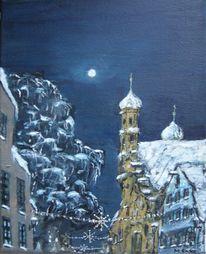 Nacht, Winter weihnachten heilig, Kreuz, Mond