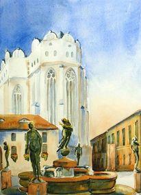 Halle, Dom, Aquarellmalerei, Aquarell