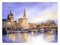 Abend, Dresden, Brühlsche terrasse, Aquarell