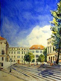 Uni, Aquarellmalerei, Halle, Aquarell