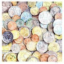 Aquarellmalerei, Münze, Geld, Aquarell