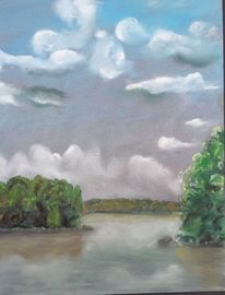 Himmel, Pastellmalerei, Kreide, See