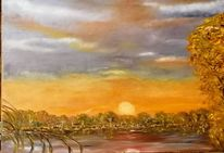 Herbst, See, Baum, Malerei