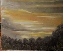 Abend, Baum, Wolken, Landschaft