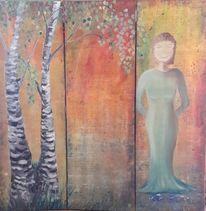 Frau, Leben, Frühling, Grün
