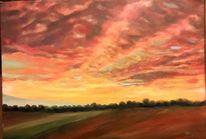 Wolken, Abend, Feld, Himmel