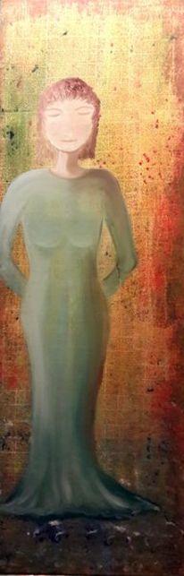 Frau, Gelassenheit, Raumteiler, Kleid