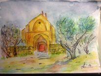 Saint, Frankreich, Aquarellmalerei, Skizze