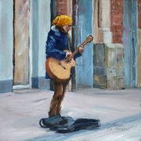 Frau, Gitrarre, Straße, Ölmalerei