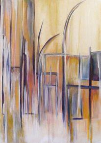 Acryl auf leinwand, Fenster, Rechteck, Biegen