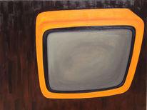 Mattscheibe, Blitzlichtfoto, Tv, Orange