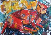 Malerei, Rot, Kater