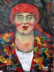 Malerei, Rot, Kopftuch