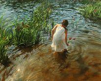 Wasse, Mädchen, Fotorealismus, Kleid