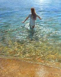 Meer, Mädchen, Fotorealismus, Sonne