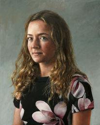 Kleid, Blond, Frau, Ölmalerei