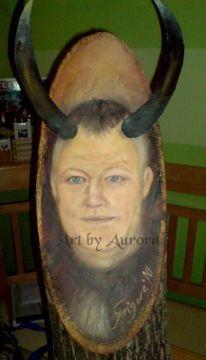 Stier, Portrait, Holz, Malerei