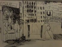 Stadtteil, Szene, Gedankenmalerei, Eberzplatz