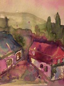 Waldrand, Häuser, Gedankenbilder, Wasserfarben