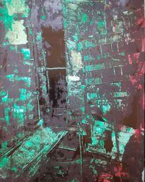 Acrylmalerei, Büttenpapier, Großstadt, Mischtechnik